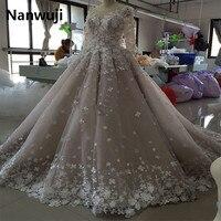Real Photos Robe De Mariage Long Sleeve Ball Gown Court Train Evening Dress In 3d