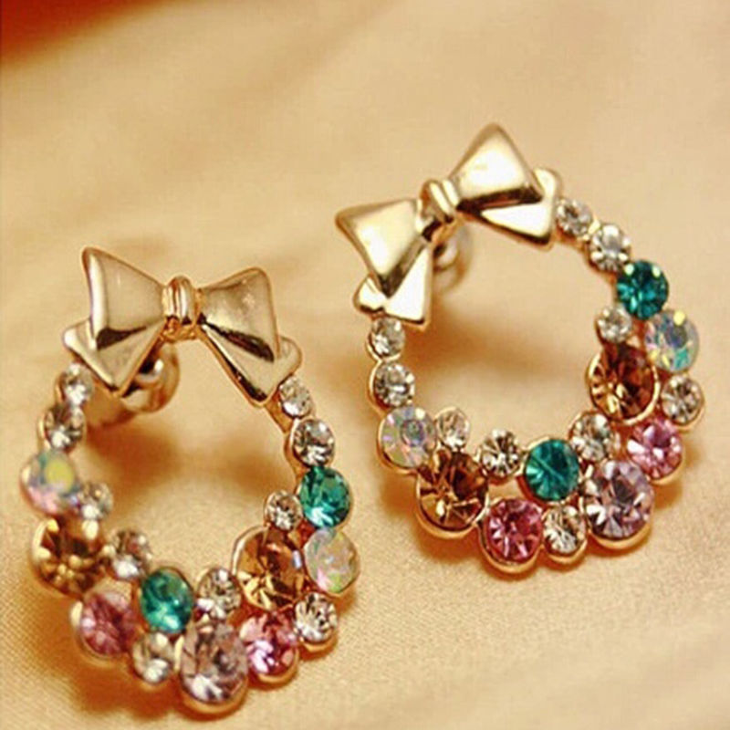 women crystal rainbow item elegant fashion ear stud from trendy for bowknot studs in earrings jewelry colourful style
