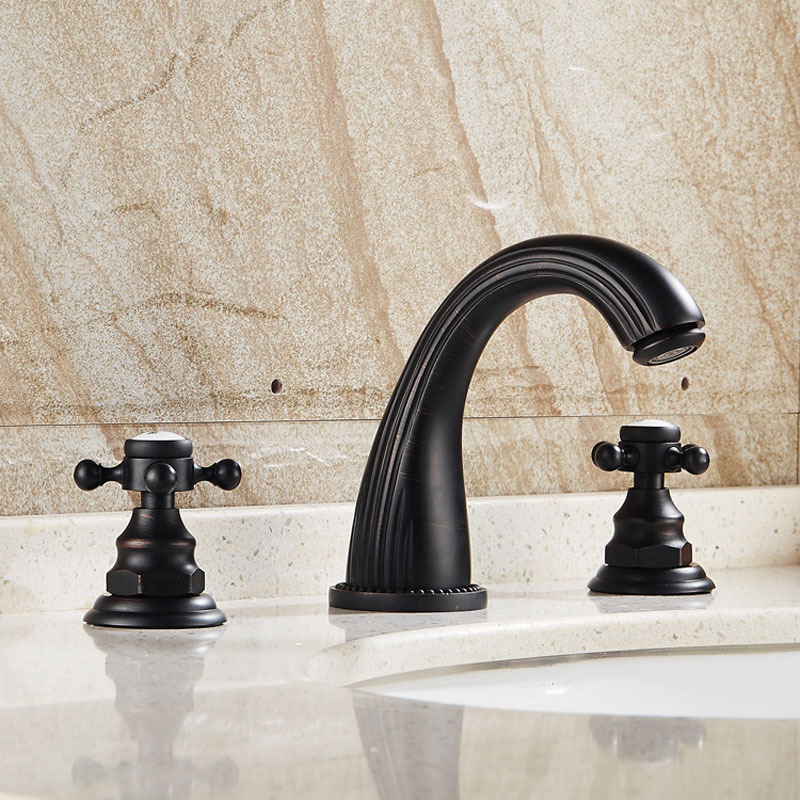 Black Basin Faucet Brass Luxury Antique Oil Rubbed Bronze Dual Holder Three-hole Hot and Cold Water Mixer Bathroom Sink Tap Set high quality new kitchen faucet antique black brass hot and cold water mixer sink mixer tap wash basin faucet oil rubbed bronze