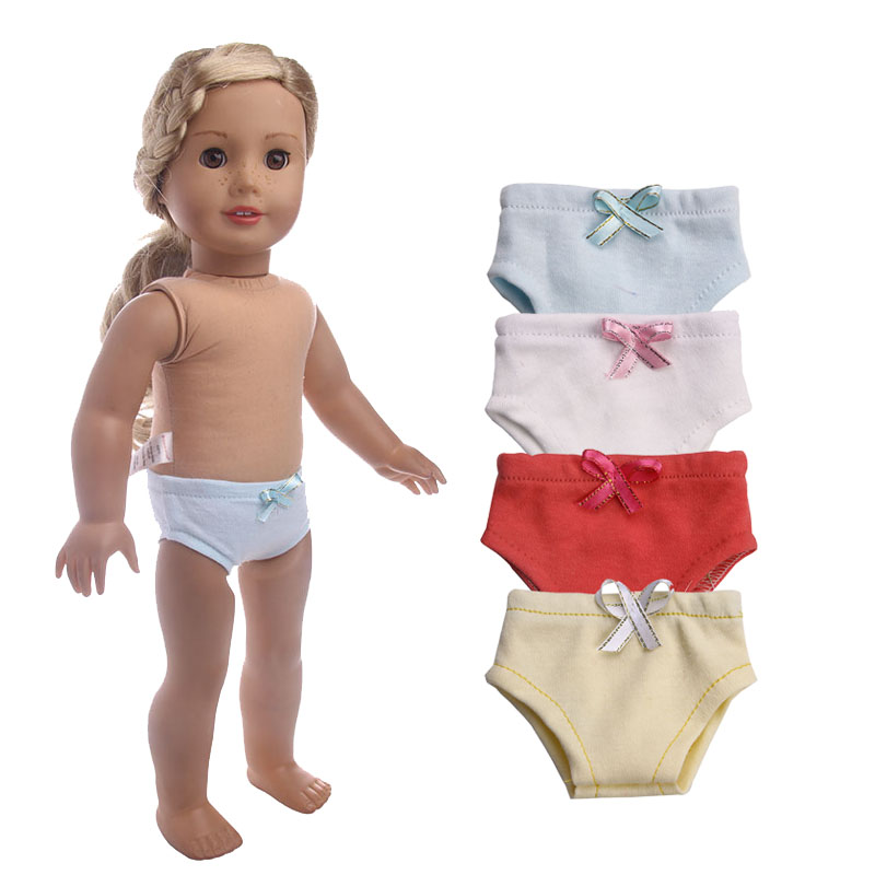 Doll Underpants 4 Colors Handmade Doll Panties With Cute Bow Fit 18 Inch American & 43 Cm Born Doll Accessories For Generation