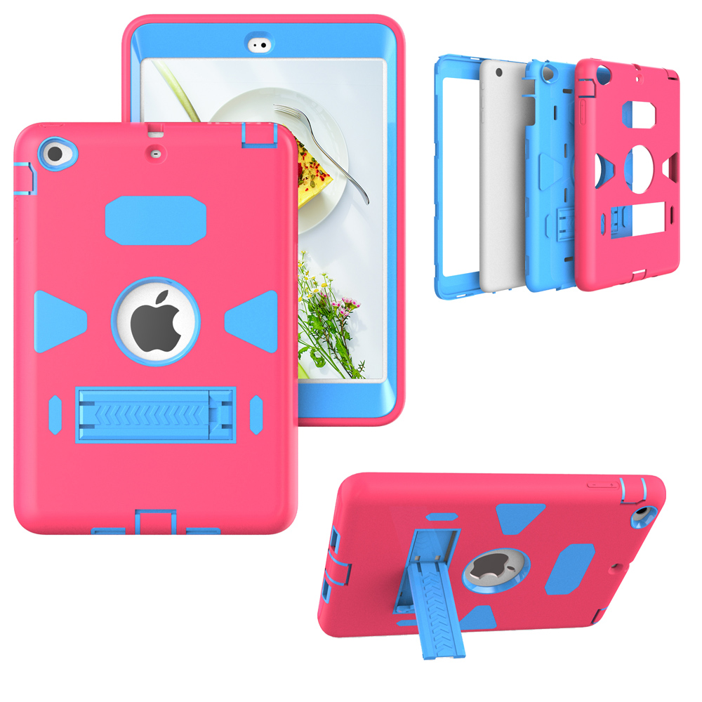 Case For iPad Mini 3 2 1 Retina Kids Safe Armor Shockproof Heavy Duty Silicone Hard Case Cover for iPad Mini 2 with Stand holder for ipad 2 ipad 3 ipad 4 case kids safe shockproof heavy duty rubber hybrid armor hard case cover stylus