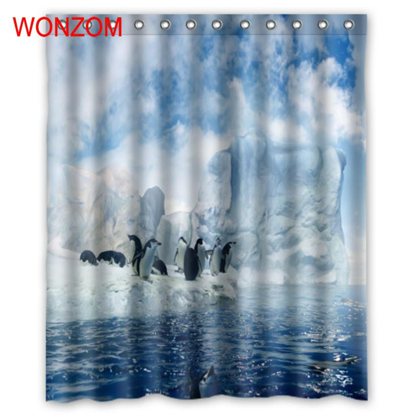 WONZOM 3D Polyester Fabric Penguin Shower Curtains Bathroom With 12 Hooks Waterproof Accessories For Decor Modern Bath Curtain