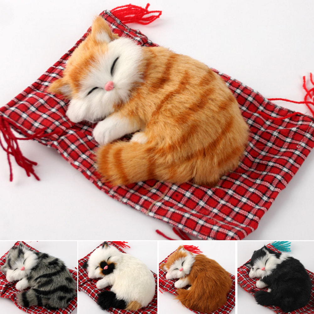 Real Hair Cat Dolls Simulation animal toy cats will meowth childrens pet cat plush toys ornaments birthday gift