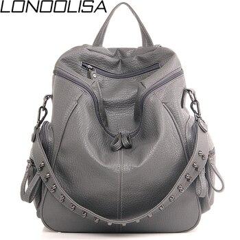 caed202c7cf0 3 в 1 дизайнерский рюкзак сумка на плечо женская Preppy Bookbag Mochilas  заклепки рюкзак большой емкости школьные сумки для девочек-подростков