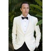 Ivory Wedding Suits For Men,Bespoke 1 Button Ivory Shawl Lapel Ivory Tuxedo Jacket and Black Pants,Tailor Off White Groom Suit
