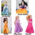Disny princesa de fadas fashion dolls tangled rapunzel sofia elsa boneca cinderela branca de neve belle aurora crianças toys para meninas