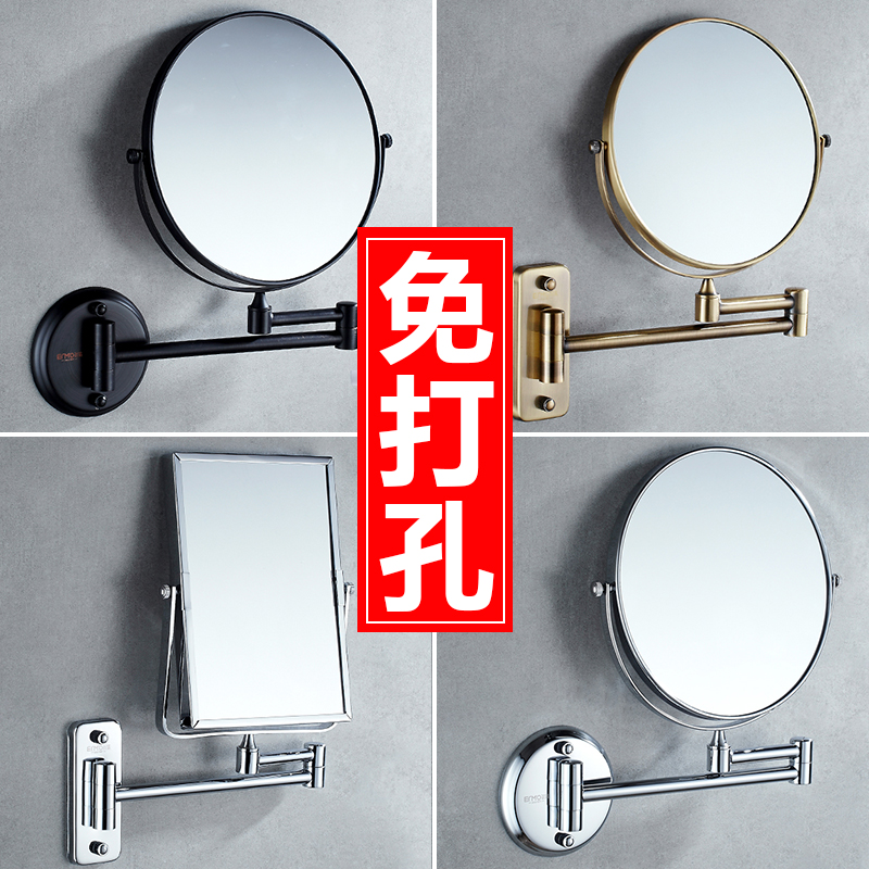 Bathroom Makeup Mirror 6 8 Chrome Brass Double Faced Cosmetic Mirror 3 X Magnifying Folding Square Wall Mirror YD-993 free shipping antique 8 double side folding brass shave makeup mirror wall mounted extend with arm round 1x3x magnifying bm004