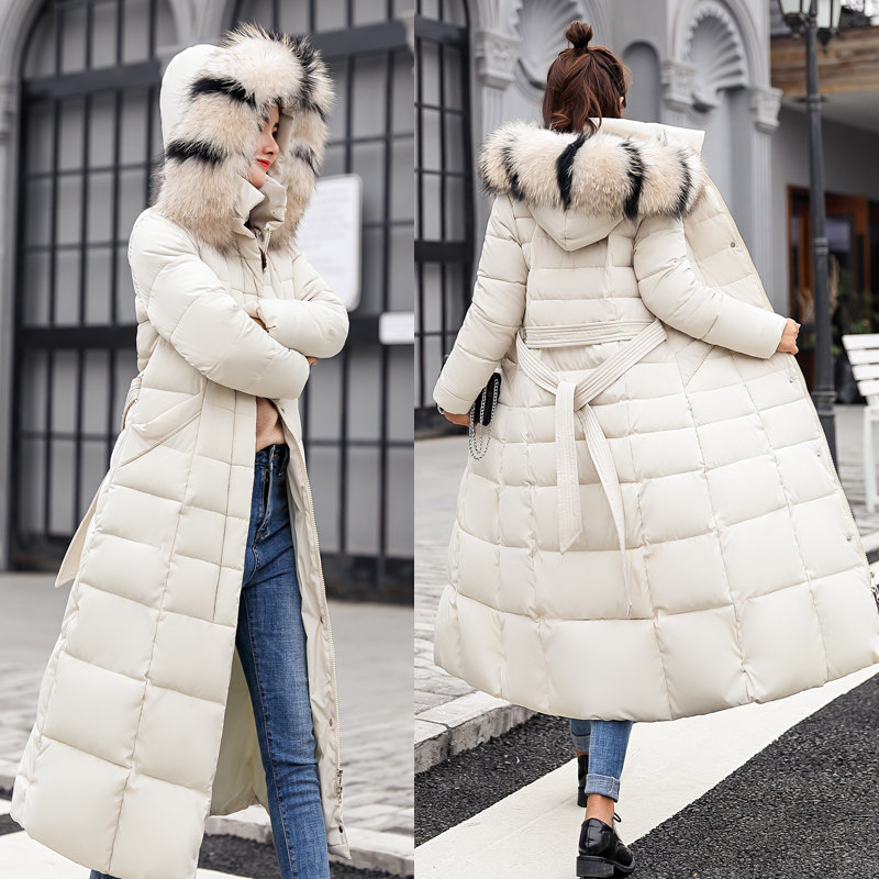 2018 New Fashion X-long Winter Coat Women Large Fur Collar Down Jacket Women Slim   Parka   Female Plus Size Thickening Coats Ladies