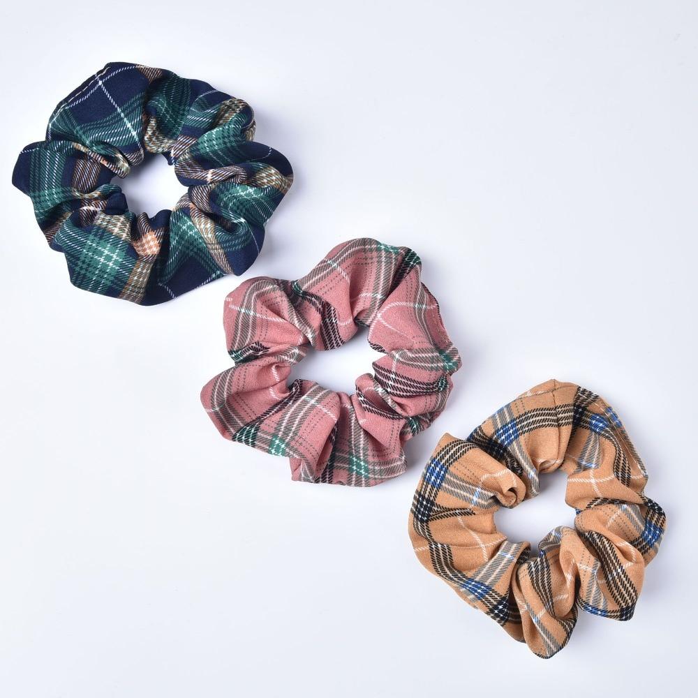 Check Tartan Print Scrunchie Check Large Plaid Hair Scrunchies Hair Tie Elastic Scrunchy Women Accessory Top Knots Gift For Her