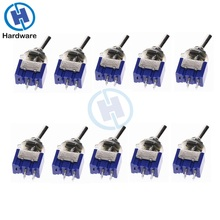 10pcs MTS 101 2 ขา SPST ON OFF 2 ตำแหน่ง 6A 250V AC Mini TOGGLE SWITCH