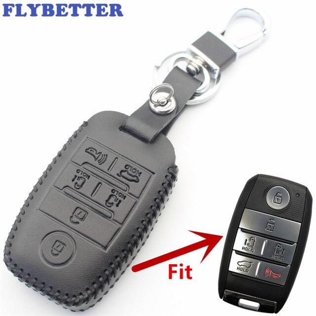 Flybetter couro genuíno 6 botão keyless entrada inteligente caso chave capa para kia sedona/grand/carnaval/sorento estilo do carro l498