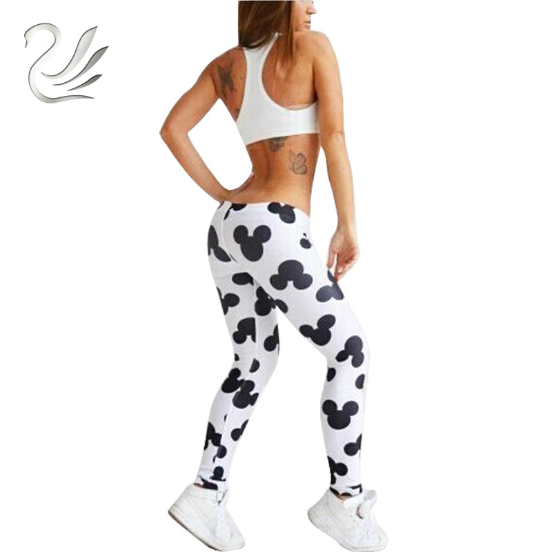2018 New Summer Elasticity   Leggings   Cute Mickey Printed   Leggings   Women's Fitness Breathable Casual Pants Sexy Slim Clothes