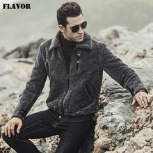 FLAVOR Winter men's Real fur coat Wool shearling Motorcycle fleece