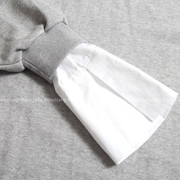 [TWOTWINSTYLE] 2017 Spring Korean Patchwork Fake Two Piece Sweatshirt Dress Women New Fashion Clothing
