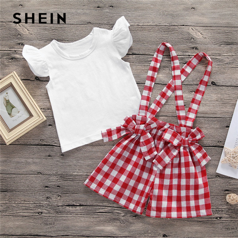 SHEIN Kiddie Girls Cap Sleeve T-Shirt With Gingham Straps Shorts Two Piece Sets 2019 Summer Double Bow Front Preppy Kids Outfits