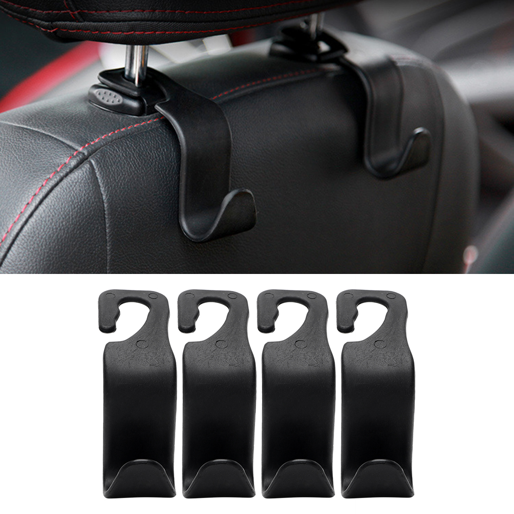 4Pcs Set Car Seat Back Hooks Auto Headrest Bag Hangers Luggage Clips Stowing Tidying Interior Accessories Fastener Clip