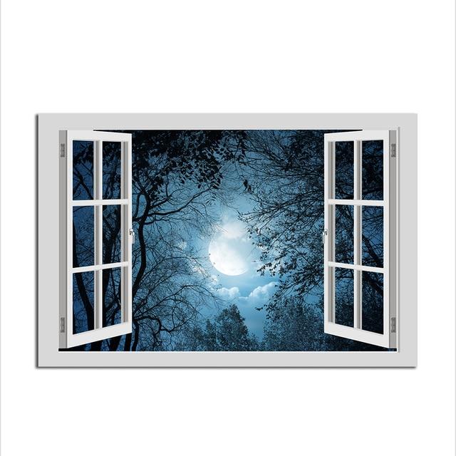 1 piece 3d fake window landscape full moon wall decal home sticker