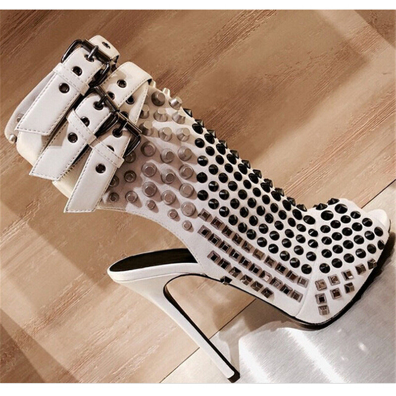 Sexy Buckle Rivets Gladiator Sandals Women Boots Open Toe High Heels Summer Boots Shoes Woman Ankle Boots Pumps Sandalias Botas 2017 suede gladiator sandals platform wedges summer creepers casual buckle shoes woman sexy fashion beige high heels k13w