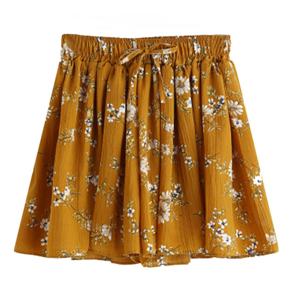 Summer Women Short Pants Causal Comfortable Floral Print Mid Waist Elastic Loose Shorts Waist Ringer Pants Freeship F#J12