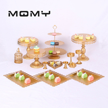 Crystal Metal Cake Stand Holder 4-16 Pcs/Set Cupcake Serving Display Rack Birthday Party Wedding Decoration Gold/White