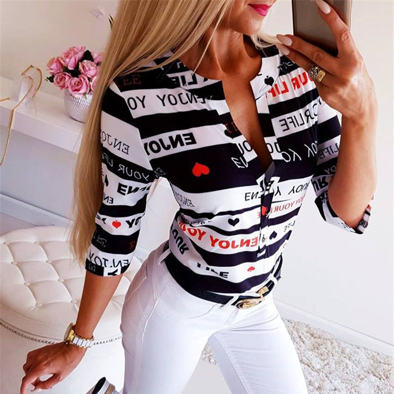 Fashion Woman   Blouses   2019 Letter Print Button Womens Tops and   Blouses     Shirt   Women's Summer   Blouses   2019 Casual Female   Shirt