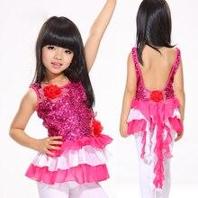 2016 Children Dance Wear Competition Girls Mermaid Tail Tassel Skirt Backless Sequin Latin Dance Dress for Girls