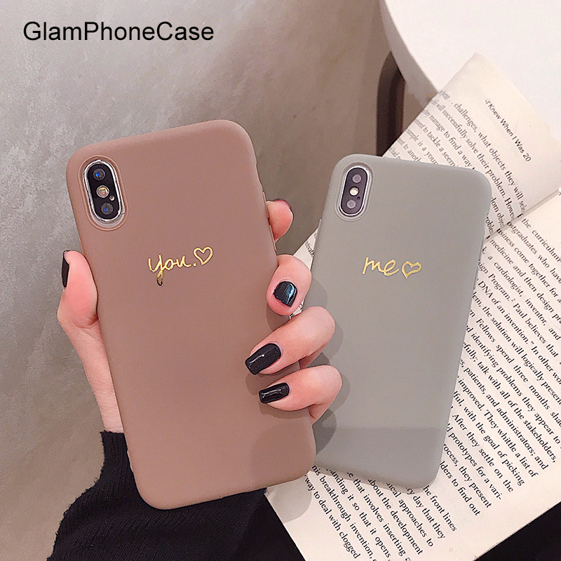 GlamPhoneCase Simple Gold Você Me Marrom Cinza Caso de Telefone Para o iphone X XS Max XR Macio TPU Tampa Para o iphone 7 8 6 6 s Mais Caso Coque