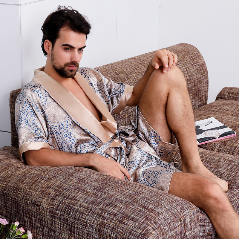 Men's Silk Nightgown Two-Piece Summer Thin Short-Sleeve Pajamas Large Size Bathrobe Robe Cetim Peignoir  Mens Pajamas  Pajamas