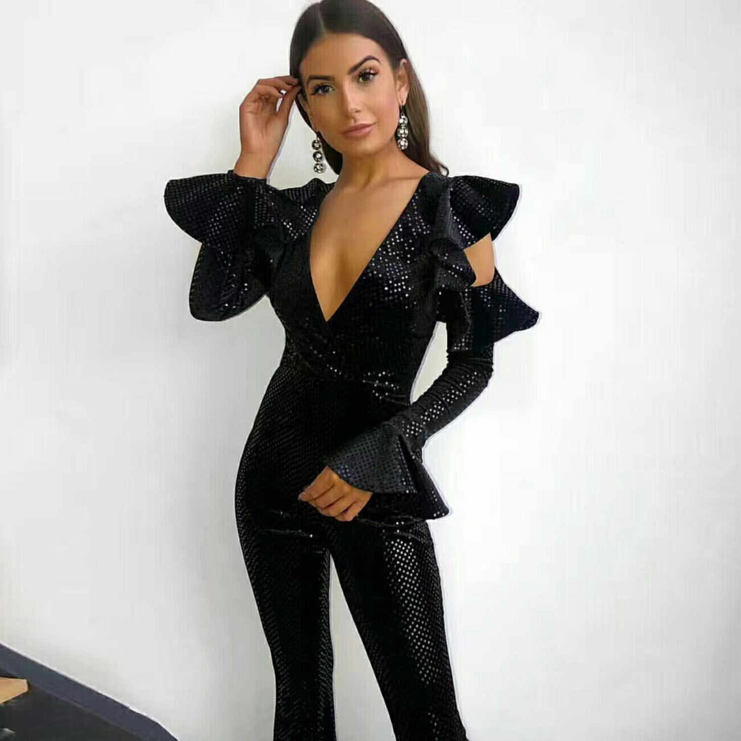 621168c4101 MEQEISS Black Sequin Jumpsuit Women Long Sleeve Sparkly Bodycon Jumpsuits  Sexy Rompers Glitter Club Party Jumpsuits