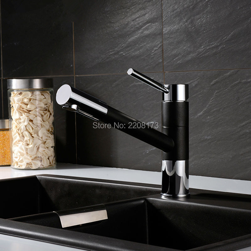 Direct High Quality Pull Out Spray 360 Degrees Swivel Spout Matte Granite Black Or Yellow Paint Kitchen Faucet Sink Mixer Tap factory direct wholesale promotion new luxury high quality modern chrome twin lever swivel spout monobloc kitchen sink mixer tap