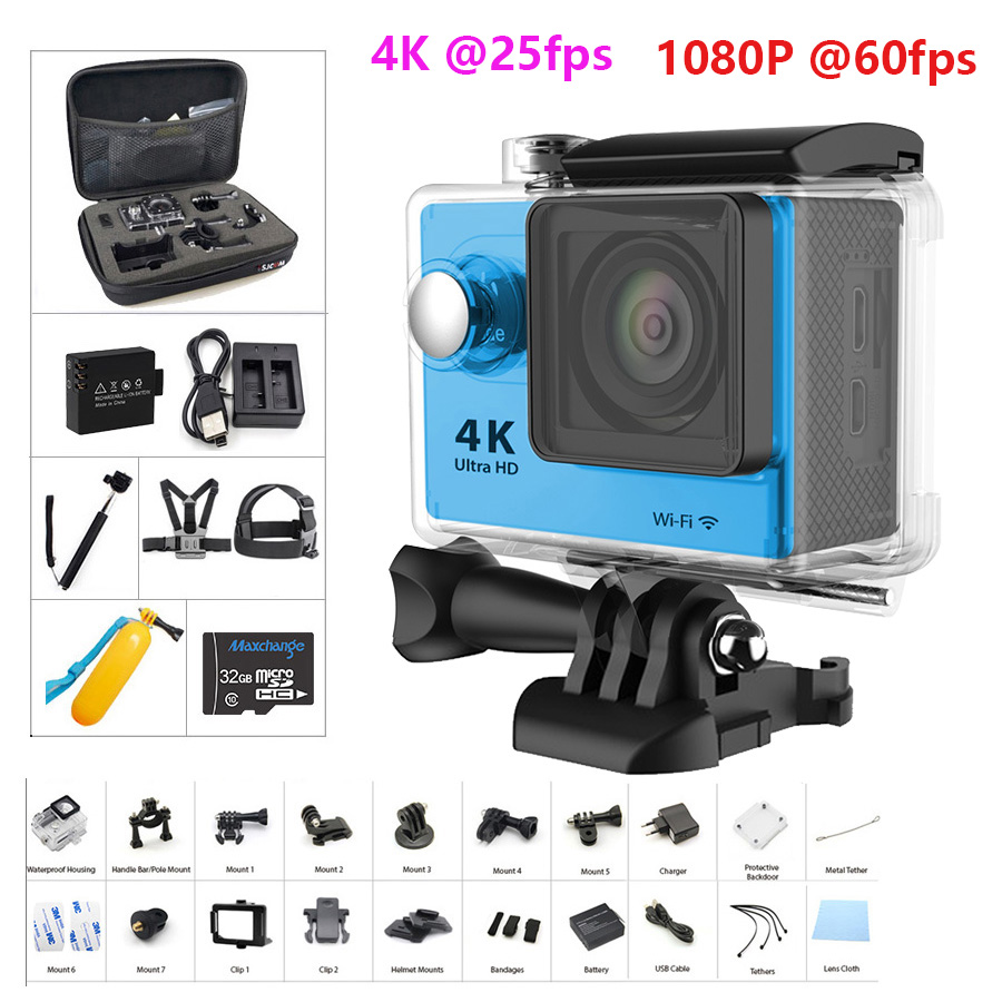 Original H9R H9 Ultra HD 1080P 4K Action Camera 30m Waterproof Video Recording Sport Camera Wifi 2.0' Screen Helmet Camera(China)