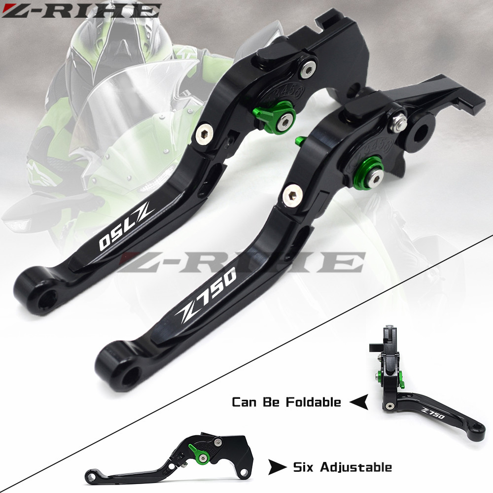 For KAWASAKI Z750 Z 750 2007 2008 2009 2010-2012 Motorcycle Accessories Folding Extendable Brake Clutch Levers LOGO Z750 Green