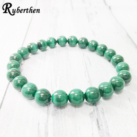 Ruberthen AAA Grand 8 mm Malachite Stacking Bracelet Healing Yoga Mala Beads Bracelet Love Peace Manifestation Jewelry