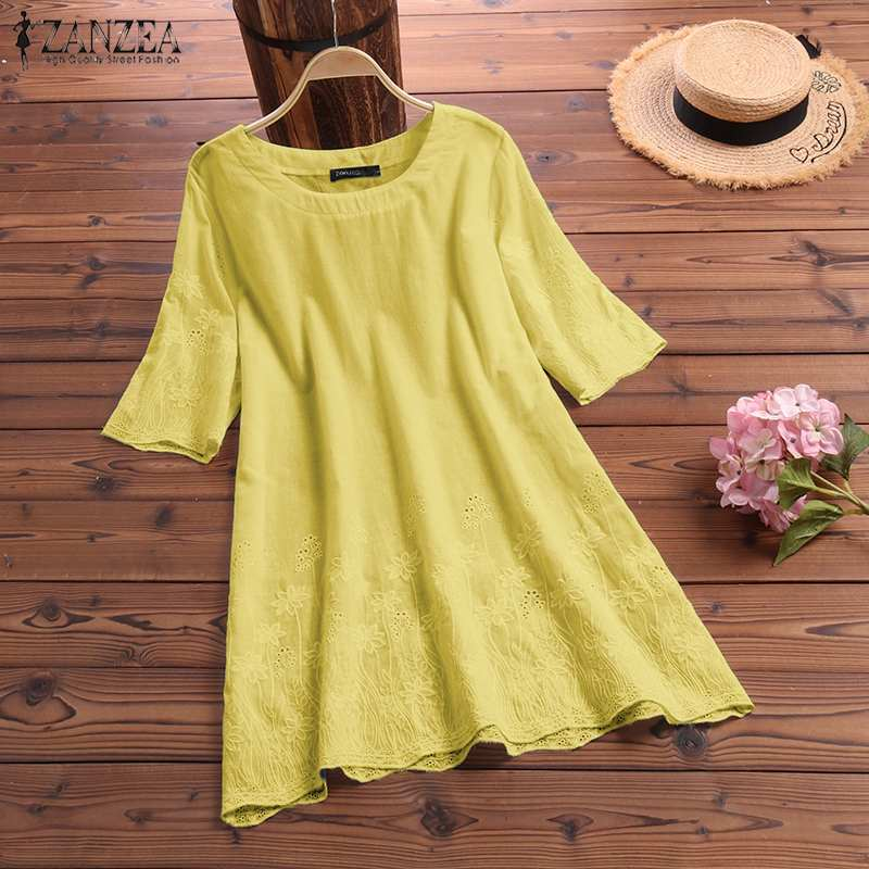 Able Zanzea 2021 Plus Size Embroidery Blouse Women's Summer Blusas Fashion Hollow 3/4 Sleeve Tee Shirts Female O Neck Solid Tuinc Top