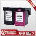 CP 2PK 302 оптовая продажа для hp 302XL 302 переработанного чернильного картриджа для hp с чернилами hp DeskJet 1110 1111 1112 2130 2131 для hp Officejet 3630 3830 4650 принтер - фото