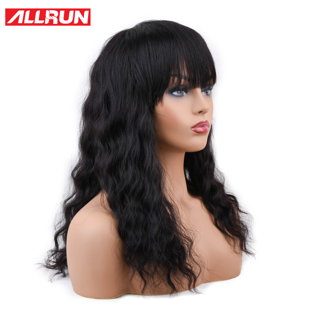 ALLRUN Human Hair Wigs With Bangs Malaysia Ocean Wave Brazilian Human Hair Wigs Non Remy Hair Short Machine Natural Wig