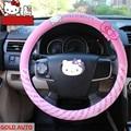 Стайлинга автомобилей Hello Kitty Рулевого Колеса Автомобиля Крышки Мультфильм Милый Розовый Hello Kitty Профиль Универсальный Интерьер Аксессуары Женщин