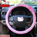 Estilo do carro Olá Kitty Tampa Da Roda de Direcção Do Carro Bonito Dos Desenhos Animados Rosa Olá Kitty Perfil Universal Acessórios Interiores Definir Mulheres