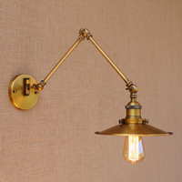 Lámpara de pared de brazo largo ajustable de cobre vintage americano  lámpara de noche de iluminación interior  lámpara de pared Industrial estilo Edison Loft
