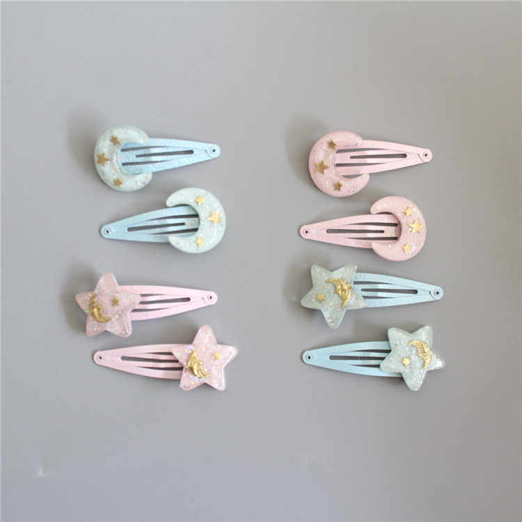2 PCS New Cute Moon And Stars Princess BB Clips Girls Hair Accessories Kids Hairpins Children Headwear Baby Hair Clips Headdress