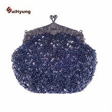 New Women's Hand-beaded Handbags Retro Sequins Beads Evening Bag Wedding Party Bridal Clutch Purse Ladies Chain Shoulder Bag
