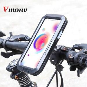 Image 1 - Vmonv אוניברסלי עמיד למים אופנוע אופניים כידון טלפון מחזיק עבור iPhone X 8 7 רכיבה על אופני טלפון נייד מקרה GPS פגז