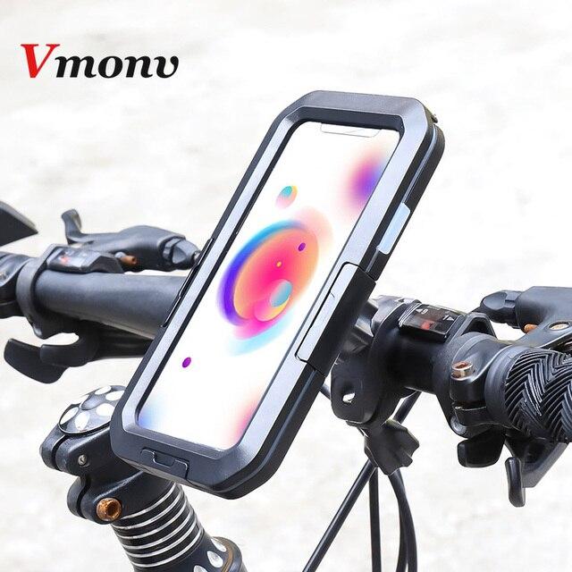 Vmonv אוניברסלי עמיד למים אופנוע אופניים כידון טלפון מחזיק עבור iPhone X 8 7 רכיבה על אופני טלפון נייד מקרה GPS פגז