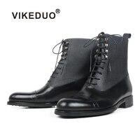 VIKEDUO 2019 Новый Лоскутная мужские кожаные ботинки броги Блейк патина Ман обувь ручной работы круглый носок черный Элитный бренд сапоги и боти