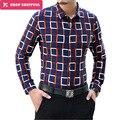 Новая Мода С Длинным Рукавом Роскошный Плед Рубашку Мужчины Удобные Мерсеризованный Хлопок Рубашки Вскользь Платья Мужчины Блузка 5xl 6xl, tx03