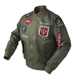Image 3 - Осенний топ пистолет Us navy MA1 letterman varsity бейсбольный пилот ВВС летный колледж Тактическая Военная армейская куртка для мужчин 2020