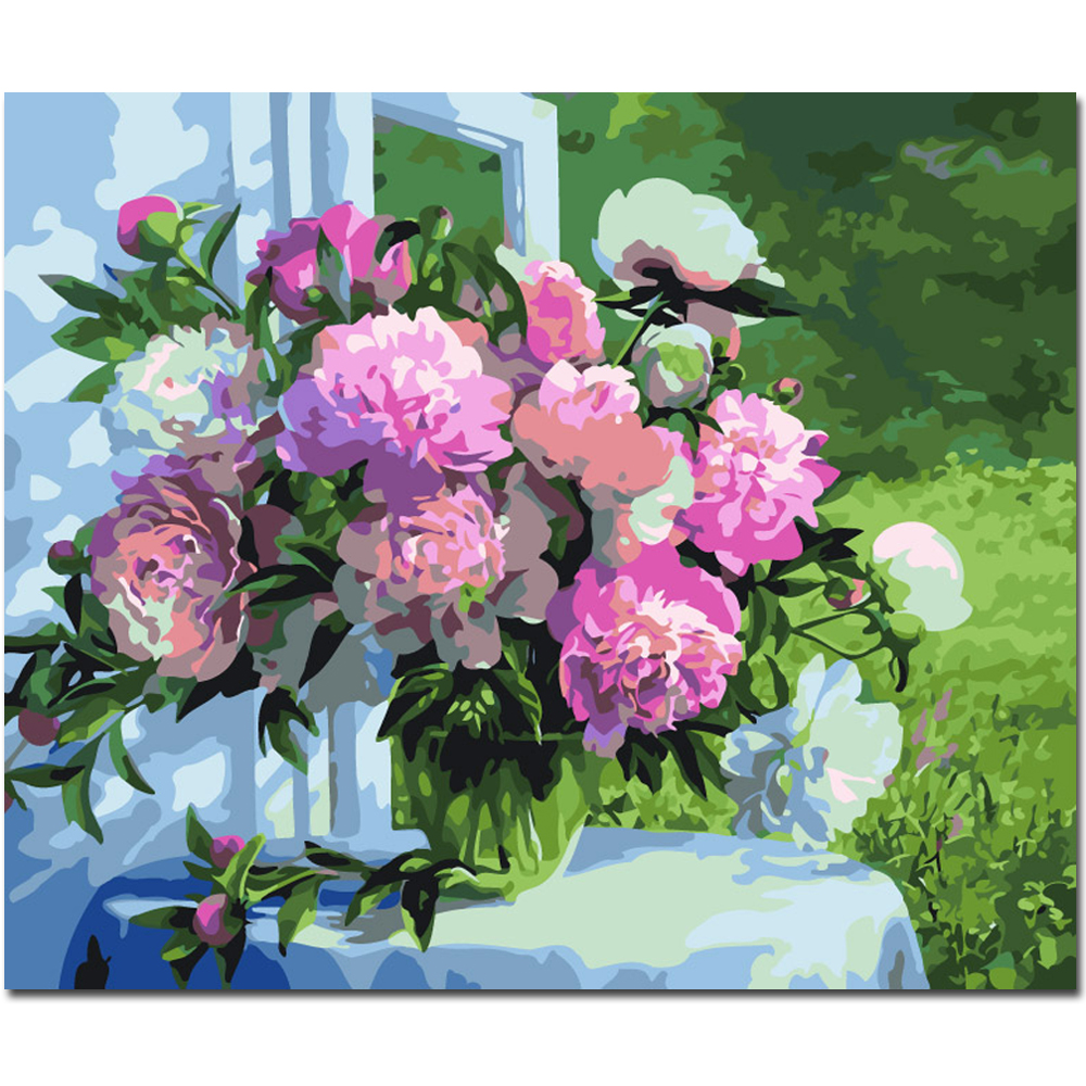WEEN Blooming Flowers-DIY Painting By Numbers kit for kid, Canvas Paint Numbers, Home Wall Art Picture For Decor 40x50cm
