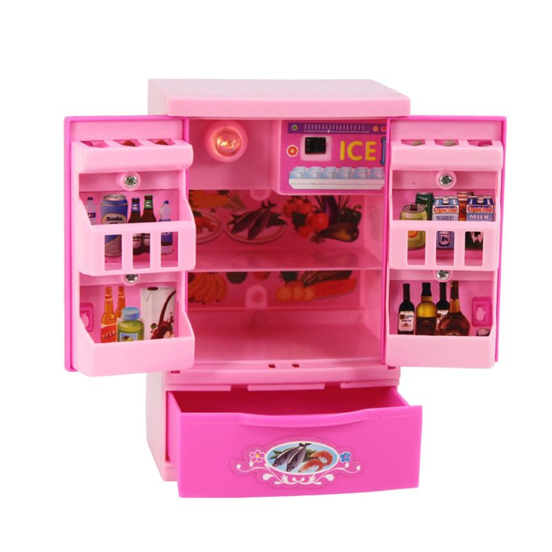 Children Kid Boy Girl Mini Kitchen Electrical Appliance Refrigerator Fridge Toy Set Early Education Dummy Household Pretended