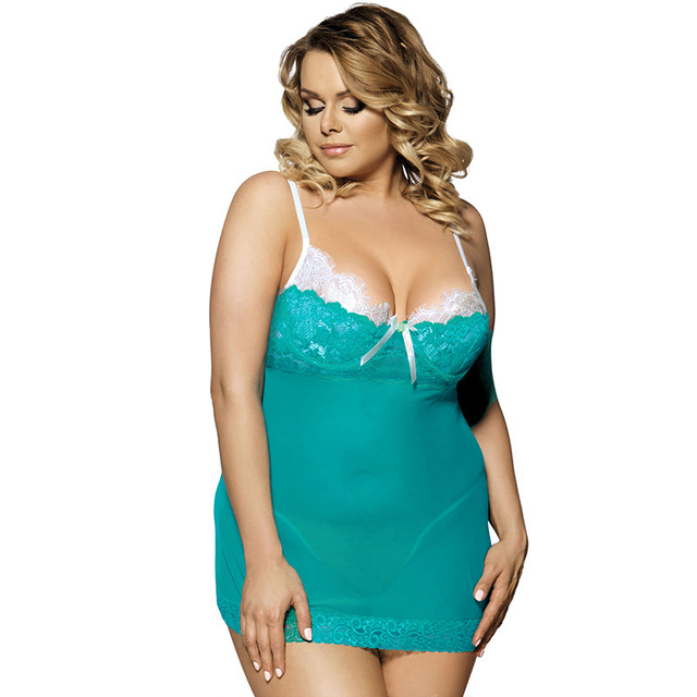 c96a5f1299 5XL Summer Plus Size Women s Polyester Lingerie Babydoll Sexy Lace Sexy  Underwear Silk Nightdresses Green Sleepwear