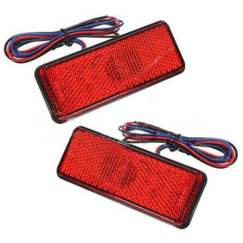 10x)  2x LED Red Reflector Tail Brake Stop Marker Light Truck Trailer ATV RV Motor SUV 2pcs lot red led light 25 31mm spst 6pin on off g128 boat rocker switch 16a 250v 20a 125v car dash dashboard truck rv atv home